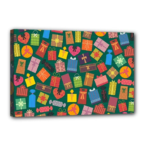 Presents Gifts Background Colorful Canvas 18  X 12