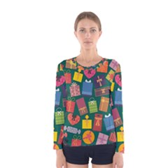 Presents Gifts Background Colorful Women s Long Sleeve Tee
