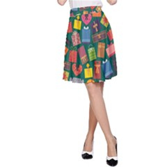 Presents Gifts Background Colorful A Line Skirt