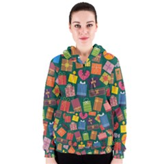 Presents Gifts Background Colorful Women s Zipper Hoodie