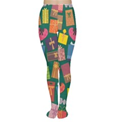Presents Gifts Background Colorful Women s Tights
