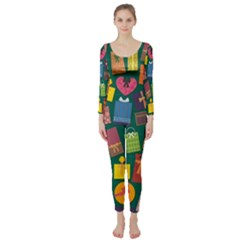 Presents Gifts Background Colorful Long Sleeve Catsuit