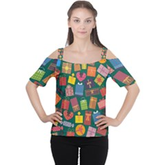 Presents Gifts Background Colorful Women s Cutout Shoulder Tee