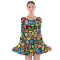 Presents Gifts Background Colorful Long Sleeve Skater Dress
