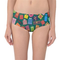 Presents Gifts Background Colorful Mid Waist Bikini Bottoms
