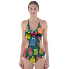 Presents Gifts Background Colorful Cut Out One Piece Swimsuit