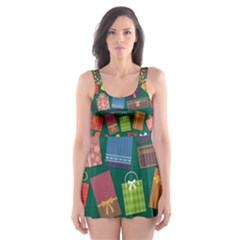 Presents Gifts Background Colorful Skater Dress Swimsuit