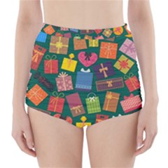 Presents Gifts Background Colorful High-Waisted Bikini Bottoms
