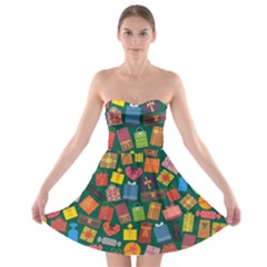 Presents Gifts Background Colorful Strapless Bra Top Dress