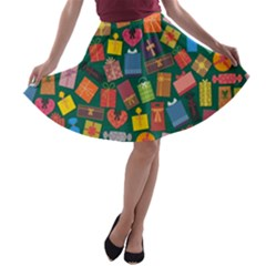 Presents Gifts Background Colorful A Line Skater Skirt