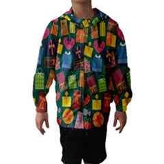 Presents Gifts Background Colorful Hooded Wind Breaker (kids)