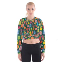 Presents Gifts Background Colorful Women s Cropped Sweatshirt