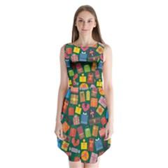 Presents Gifts Background Colorful Sleeveless Chiffon Dress