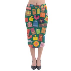 Presents Gifts Background Colorful Midi Pencil Skirt