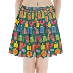 Presents Gifts Background Colorful Pleated Mini Skirt