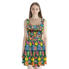 Presents Gifts Background Colorful Split Back Mini Dress