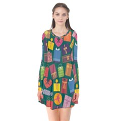 Presents Gifts Background Colorful Flare Dress
