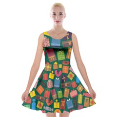Presents Gifts Background Colorful Velvet Skater Dress