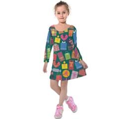 Presents Gifts Background Colorful Kids  Long Sleeve Velvet Dress