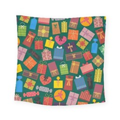 Presents Gifts Background Colorful Square Tapestry (small)