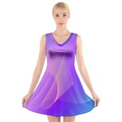 Vector Blend Screen Saver Colorful V Neck Sleeveless Skater Dress