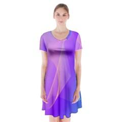 Vector Blend Screen Saver Colorful Short Sleeve V Neck Flare Dress