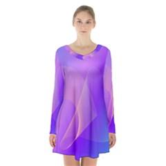Vector Blend Screen Saver Colorful Long Sleeve Velvet V Neck Dress