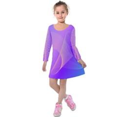Vector Blend Screen Saver Colorful Kids  Long Sleeve Velvet Dress
