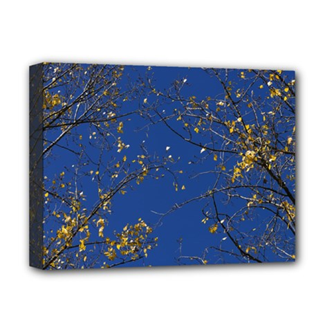 Poplar Foliage Yellow Sky Blue Deluxe Canvas 16  X 12