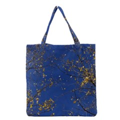 Poplar Foliage Yellow Sky Blue Grocery Tote Bag