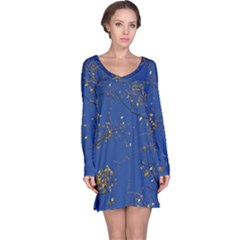 Poplar Foliage Yellow Sky Blue Long Sleeve Nightdress