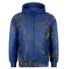 Poplar Foliage Yellow Sky Blue Men s Zipper Hoodie