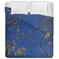 Poplar Foliage Yellow Sky Blue Duvet Cover Double Side (california King Size)