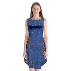 Poplar Foliage Yellow Sky Blue Sleeveless Chiffon Dress