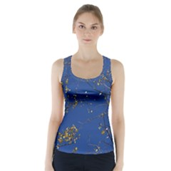 Poplar Foliage Yellow Sky Blue Racer Back Sports Top