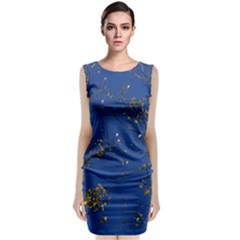 Poplar Foliage Yellow Sky Blue Sleeveless Velvet Midi Dress