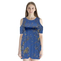 Poplar Foliage Yellow Sky Blue Shoulder Cutout Velvet  One Piece
