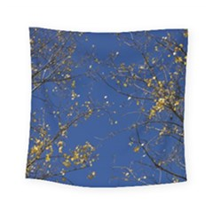 Poplar Foliage Yellow Sky Blue Square Tapestry (small)
