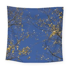 Poplar Foliage Yellow Sky Blue Square Tapestry (large)