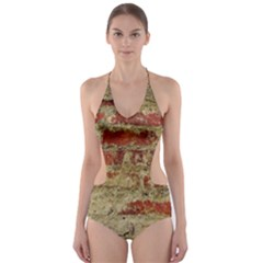 Wall Plaster Background Facade Cut-Out One Piece Swimsuit