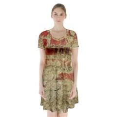 Wall Plaster Background Facade Short Sleeve V-neck Flare Dress