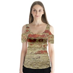 Wall Plaster Background Facade Butterfly Sleeve Cutout Tee