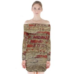 Wall Plaster Background Facade Long Sleeve Off Shoulder Dress