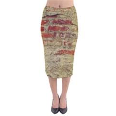 Wall Plaster Background Facade Velvet Midi Pencil Skirt