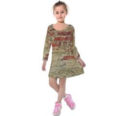 Wall Plaster Background Facade Kids  Long Sleeve Velvet Dress