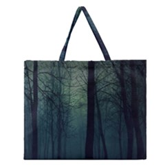 Dark night forest Zipper Large Tote Bag
