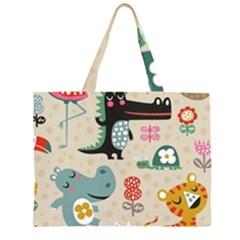 Lovely cartoon animals Zipper Large Tote Bag