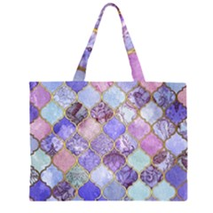 Blue toned moroccan mosaic  Zipper Large Tote Bag