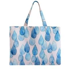 Cute blue rain drops Medium Zipper Tote Bag
