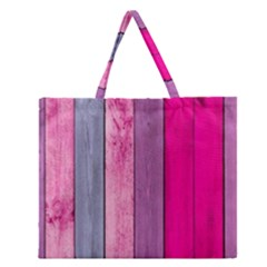 Pink colored wood Zipper Large Tote Bag